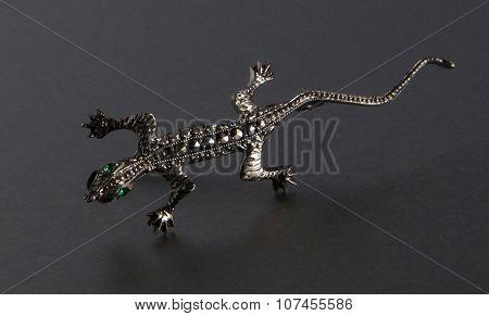 Antique Silver Brooch Salamander