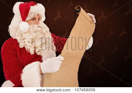 Santa checking list against maroon reindeer pattern