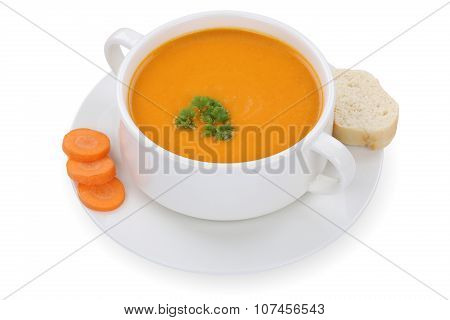 Carrot Soup With Carrots In A Cup Isolated