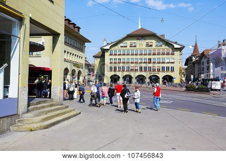 Undefined Tourists At Casinoplatz In Bern