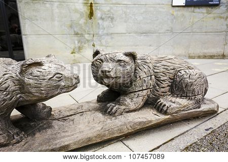 Wooden Sculptures Of Bears In Bern