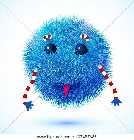 Blue fluffy vector funny monster