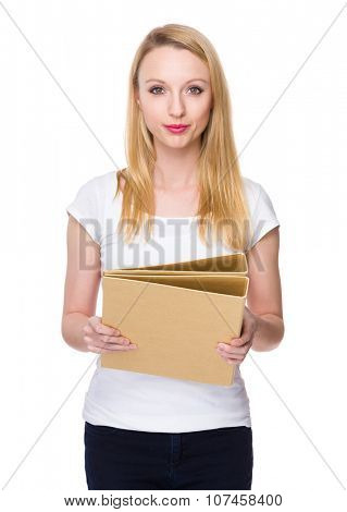 Caucasian young woman show with folder