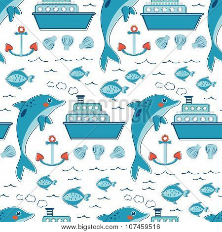 Colorful seamless sea pattern with dolphins anchors fishes and ships