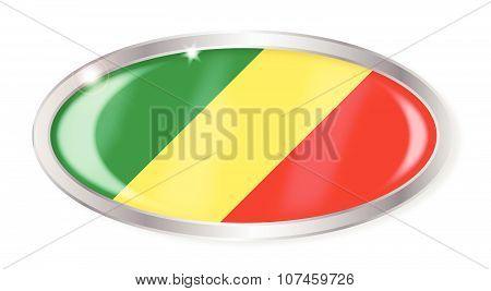 Republic Of The Congo Flag Oval Button