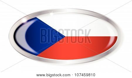 Czech Republic Flag Oval Button