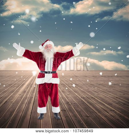 Santa with arms out against wooden planks leading to blue sky