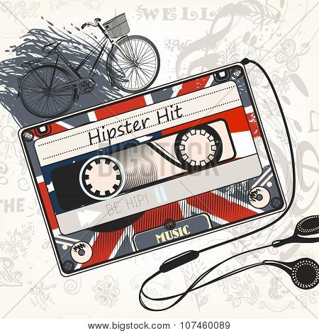 Vector Music Background With Old Cassette Decorated By British Flag Bicycle And Headphones Hipster H