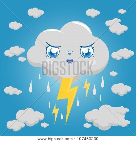 Stormy cloud character raining and thunder