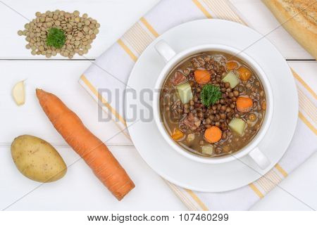 Lentil Soup Stew With Lentils In Bowl From Above