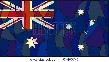 Australia Flag Stained Glass Window