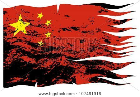 Wavy Chinese Flag Grunged