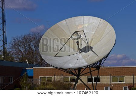 Broadcast Satellite Dishes At A Television Station IV