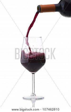 red wine poured