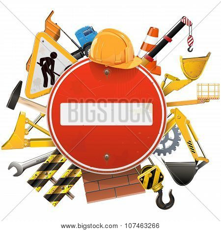 Vector Construction Concept With Red Sign