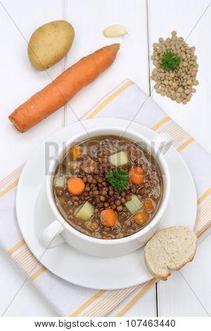 Lentil Soup Stew With Vegetables Lentils In Bowl