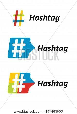 Hashtag, Communication Sign Set.