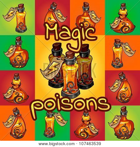 Big set of different magic poisons