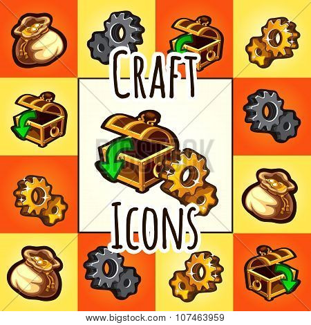 Set of craft icon, chest, gear, bag with gold