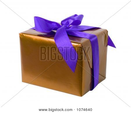 Gift - Golden Paper And Purple Ribbon