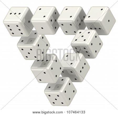 The magic triangle of dice