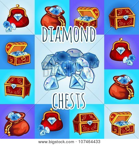 Set of diamond icon, chest, bag with gemstone