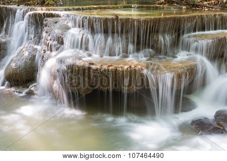 Closeup spring water cascades