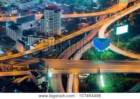 Elevated expressway intersection at night