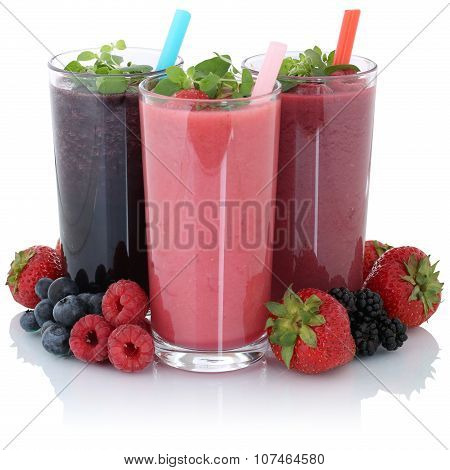 Smoothie Fruit Juice With Fresh Fruits Isolated