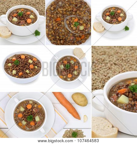 Collection Of Lentil Soup Soups Stew With Lentils In Bowl