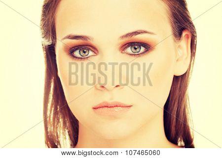 Beautiful caucasian's head and shoulders. Closeup
