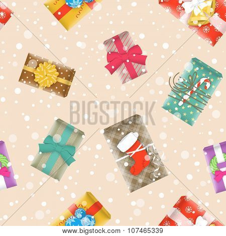 Christmas Gifts Festive Seamless Background Pattern