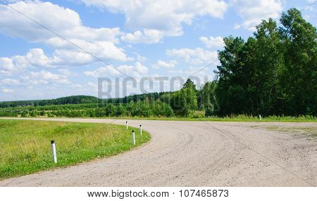 Turn Of The Lonely Road In Countryside