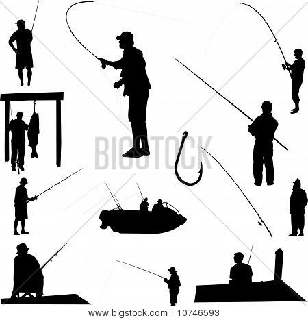 fishermen and fishing equipment - vector
