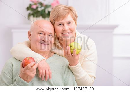 Adult loving couple embracing