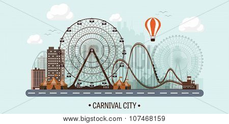 Vector illustration. Ferris wheel. Carnival. Funfair background. Circus park.  Skyscrapers with roll
