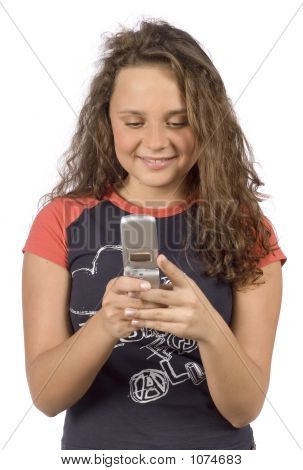 Female Teenager Writting Short Text Message
