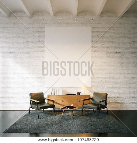 Photo of empty canvas on the white bricks wall background. 3d render