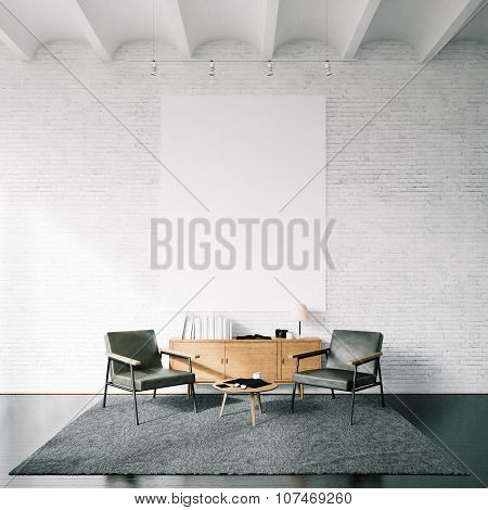 Photo of empty canvas on the white bricks wall background. Square. 3d render