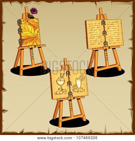 Three easel with text and drawings