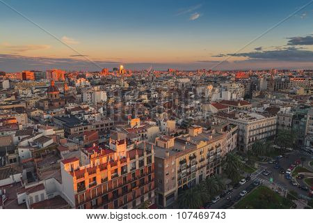 Aerial view of Valencia, Spain in the evening
