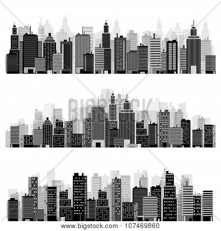 Vector illustration. Set of city silhouettes. Cityscape. Town skyline. Panorama. Midtown houses. Sky