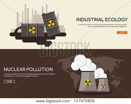 Vector illustration. Flat industrial background. Nuclear power plant, fuel. Environment protection.
