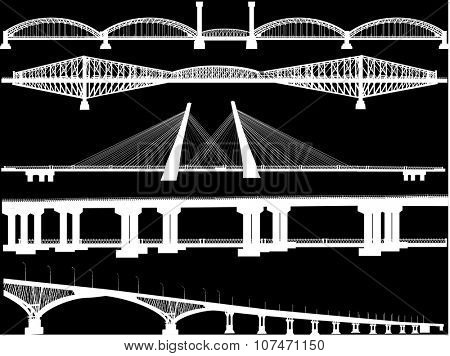 illustration with bridges collection isolated on black background