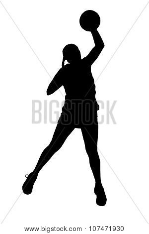 Silhouette Of Korfball Ladies League Girl Player Throwing Ball