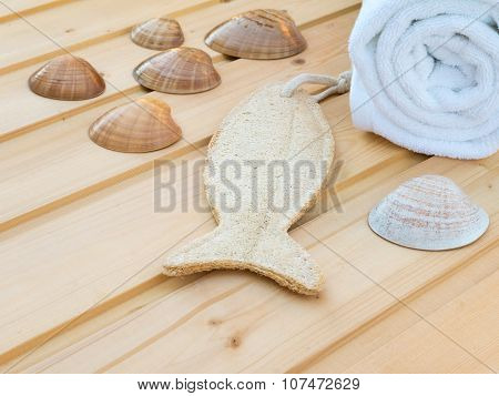 White Towel, Seashells And Fish Shaped Wisp