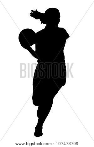 Silhouette Of Korfball Ladies League Girl Player Running With Ball