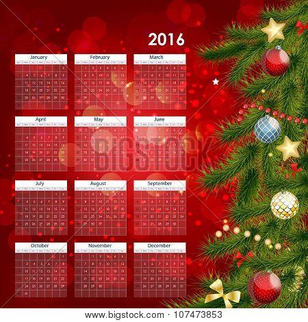 2016 New Year Calendar Vector Illustration
