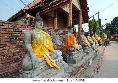 Buddha series in old Thai temple at Ayuthaya Thailand