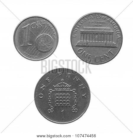 Black And White Coin Isolated